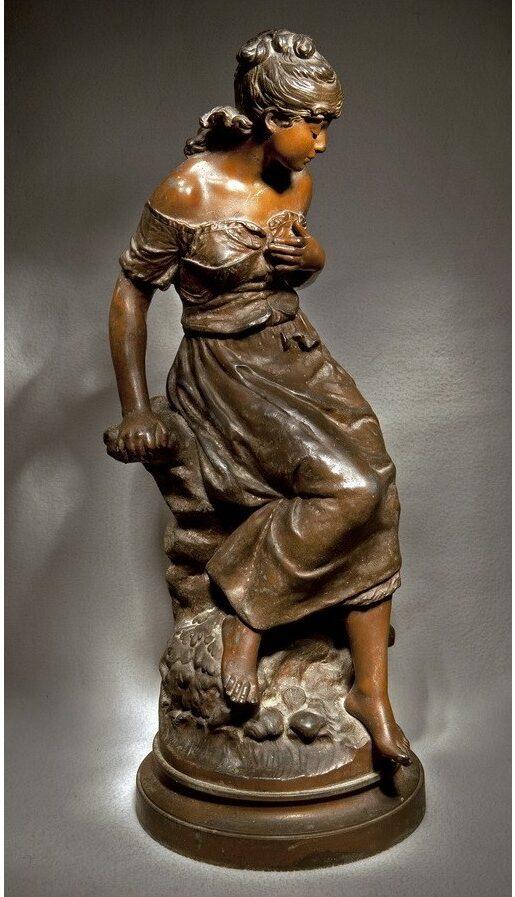 Фото статуэтки «Девушка на скале» Огюст Моро. Франция. Конец XIX века
